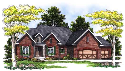 English-country Style Home Design Plan: 7-368