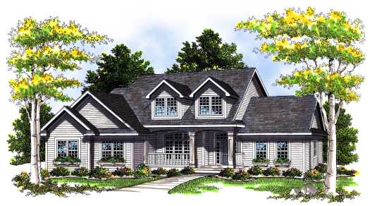 Traditional Style Home Design Plan: 7-378