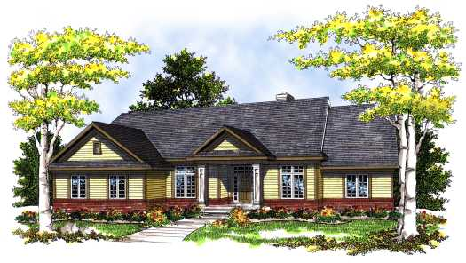 Ranch Style Home Design Plan: 7-384