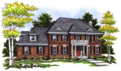 Southern-Colonial Style Home Design Plan: 7-386
