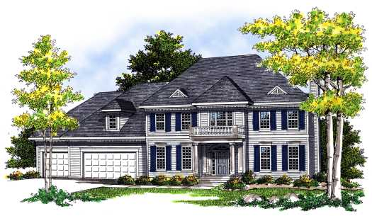 Colonial Style Home Design Plan: 7-387