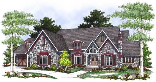 European Style Home Design Plan: 7-419