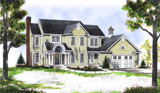 Colonial Style Home Design Plan: 7-440