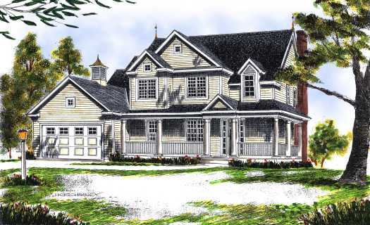 Country Style Home Design Plan: 7-444