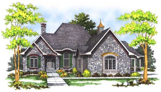 European Style Home Design Plan: 7-453