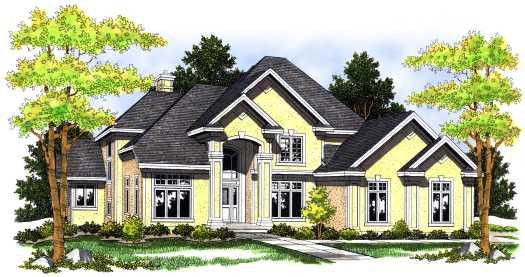 Mediterranean Style Home Design Plan: 7-484