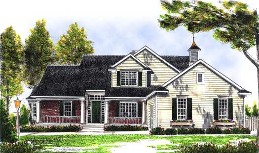 Country Style Home Design Plan: 7-487
