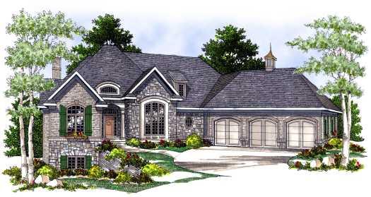 European Style Home Design Plan: 7-491
