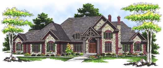 English-country Style Home Design Plan: 7-509