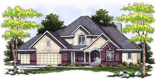 French-country Style Home Design Plan: 7-519