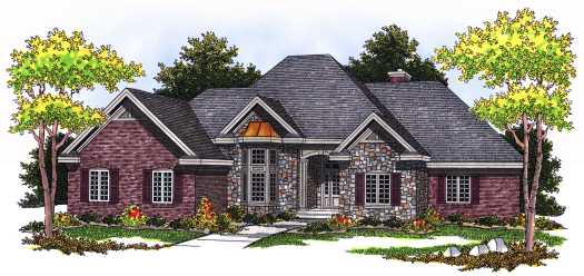 European Style Home Design Plan: 7-529