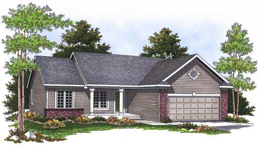 Ranch Style Home Design Plan: 7-533