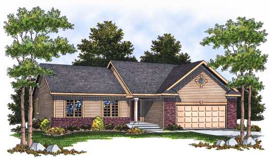 Ranch Style Home Design Plan: 7-534