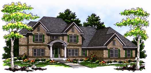 European Style Home Design Plan: 7-538