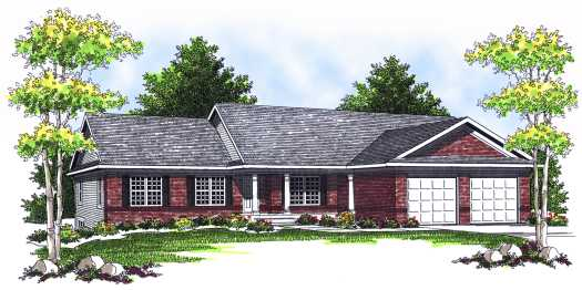 Ranch Style Home Design Plan: 7-544