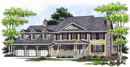 Southern-colonial Style Home Design Plan: 7-549
