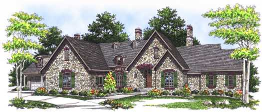 French-country Style Home Design Plan: 7-554