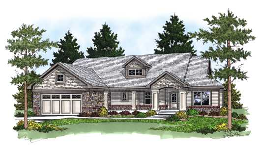 Traditional Style Home Design Plan: 7-566