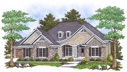 French-country Style Home Design Plan: 7-627