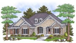 French-Country Style Home Design Plan: 7-628