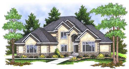 European Style Home Design Plan: 7-654