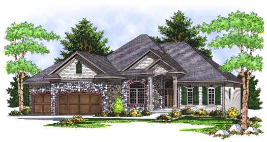 European Style Home Design Plan: 7-655