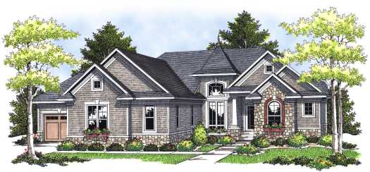 French-country Style Home Design Plan: 7-657