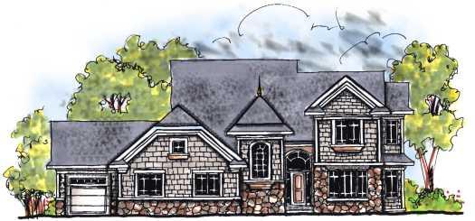 European Style Home Design Plan: 7-683