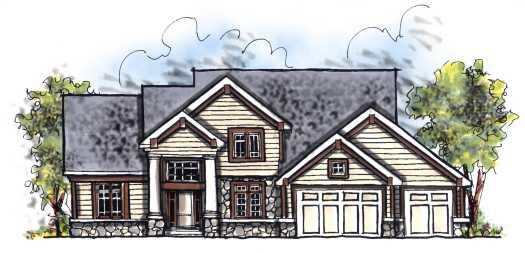 European Style Home Design Plan: 7-690