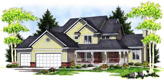 Country Style Home Design Plan: 7-691