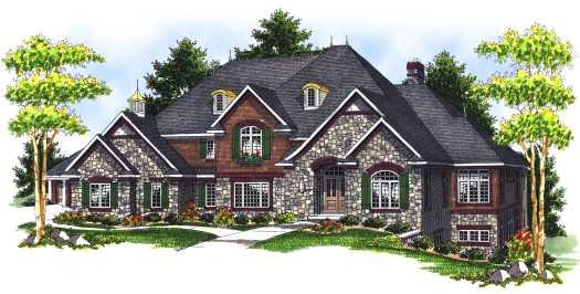 European Style Home Design Plan: 7-692