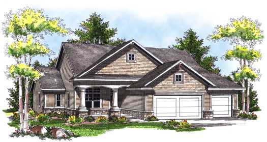 Craftsman Style Home Design Plan: 7-727