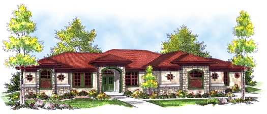Mediterranean Style Home Design Plan: 7-739