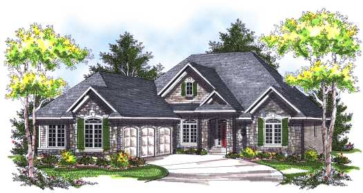 European Style Home Design Plan: 7-747