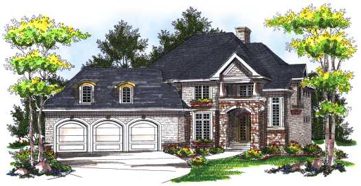 European Style Home Design Plan: 7-755
