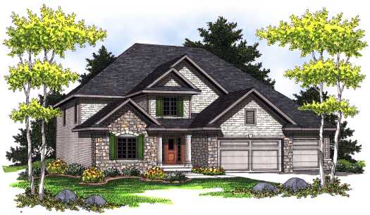 European Style Home Design Plan: 7-778
