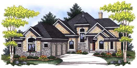 European Style Home Design Plan: 7-785