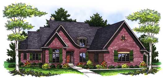 French-country Style Home Design Plan: 7-786