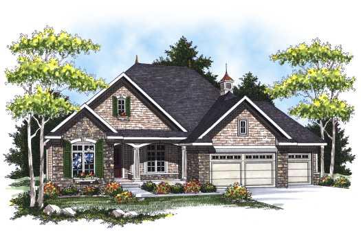 European Style Home Design Plan: 7-800