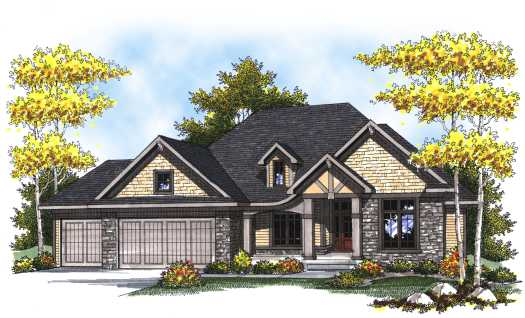 European Style Home Design Plan: 7-805