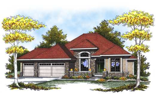 Mediterranean Style Home Design Plan: 7-806