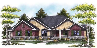 European Style Home Design Plan: 7-808