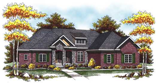 European Style Home Design Plan: 7-809