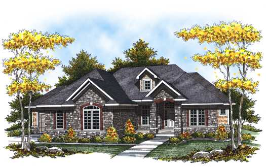 European Style Home Design Plan: 7-815