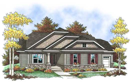 Bungalow Style Home Design Plan: 7-829