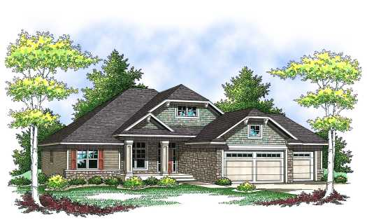 Craftsman Style Home Design Plan: 7-838