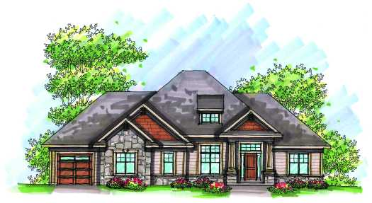 Craftsman Style Home Design Plan: 7-964
