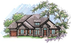 French-Country Style Home Design Plan: 7-971