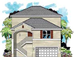 Florida Style Home Design Plan: 73-146
