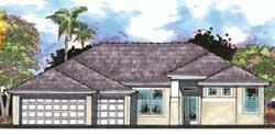 Florida Style Home Design Plan: 73-163